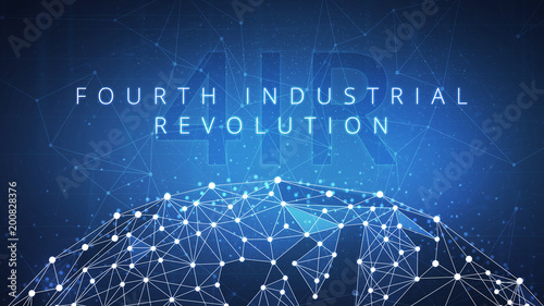 Stampa su Tela Fourth industrial revolution on futuristic hud with world map globe and blockchain polygon peer to peer network