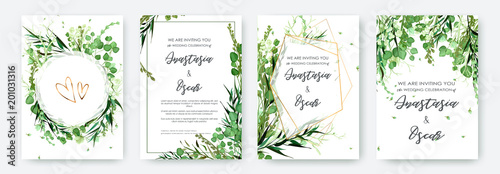 Tablou Canvas Wedding invitation frame set; flowers, leaves, watercolor, isolated on white