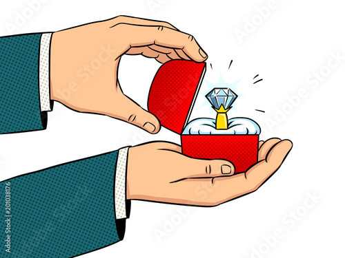 Obraz na płótnie Hands precious ring pop art vector illustration