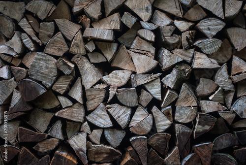 Fototapeta Pile (heap) of dry firewood
