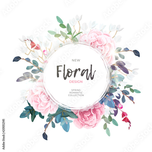 Vector round botanical frame with pale pink roses, green leaves and plants. Light romantic floral design.