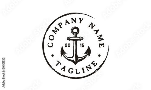 Fotografia Anchor Hipster Vintage Retro Circular Rustic Stamp Hand Drawn Boat Ship Marine N
