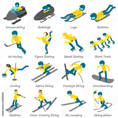 Photo Winter sport ski snowboard icons set