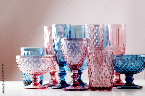 Embossed colored drink glasses for wine and champagne.