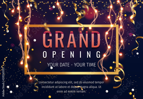 Grand opening invitation concept. Celebration design. Gold glitter letters on abstract background with light effect and bokeh.
