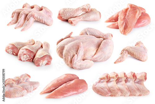 Fresh raw chicken and chicken parts isolated on white background. Breast, wings and legs.