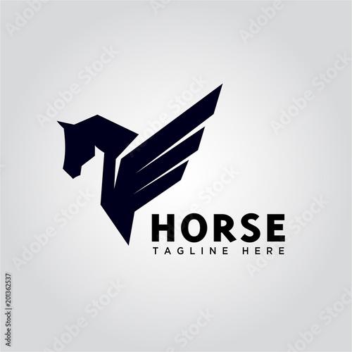 Fototapeta wing pegasus horse logo