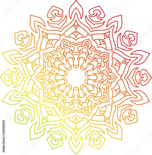 Obraz na plátně Colorful round mandala with oriental ornament.