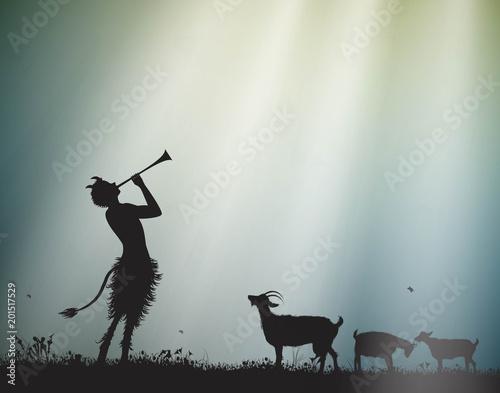 Fotografie, Obraz faun shepherd herds the goats in the morning sun rays, satyr,