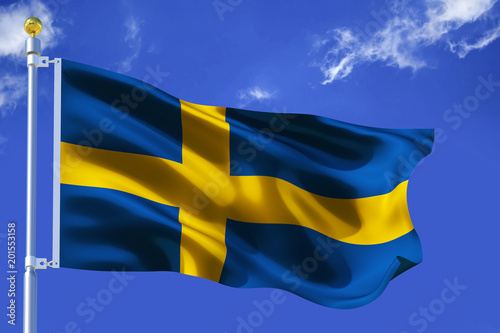 Wallpaper Mural The silk waving flag of Sweden with a flagpole on a blue sky background with clouds
