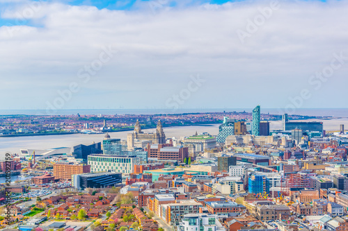 Aerial view of liverpool including three graces, England