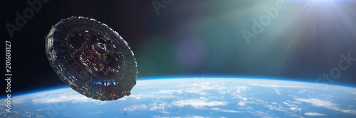 Fotografia gigantic space station in orbit of planet Earth