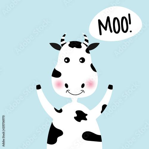 Cartoon cute girl krowa i napis Moo.