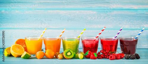 Fotografie, Obraz Various freshly squeezed fruits juices