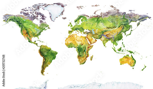 Wall mural Watercolor geographical map of the world. Physical map of the world. Realistic image. Isolated on white background