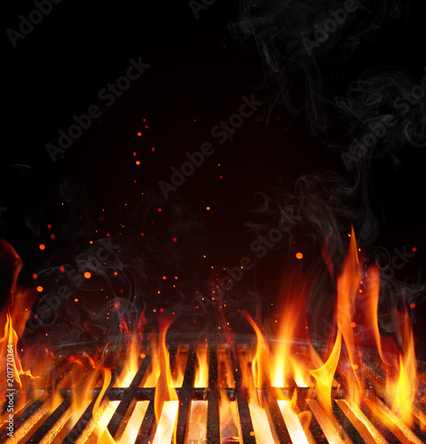 Grill Background - Empty Fired Barbecue On Black Fototapeta