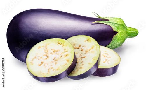 Aubergine or eggplant with aubergine slices on white background.