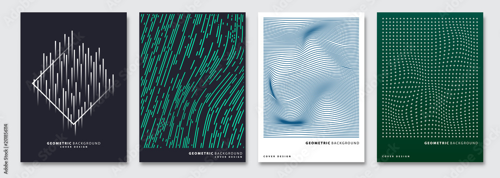 Okładkowi szablony ustawiający, wektorowy geometryczny abstrakcjonistyczny tło. Ulotka, prezentacja, broszura, baner, projekt plakatu. <span>plik: #201856114   autor: archiwiz</span>