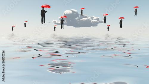 Fotografie, Obraz Floating Men with Umbrellas