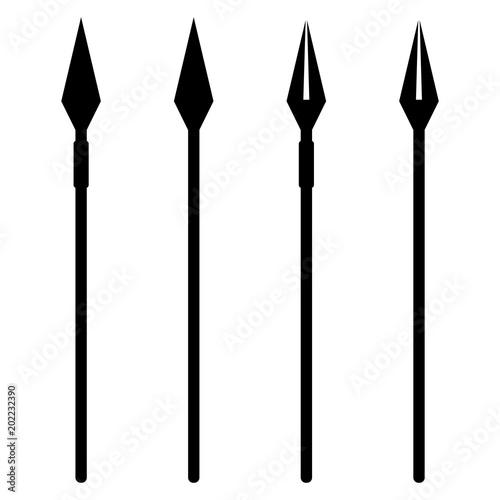 Obraz na płótnie Simple, flat, black and white spear silhouette illustration