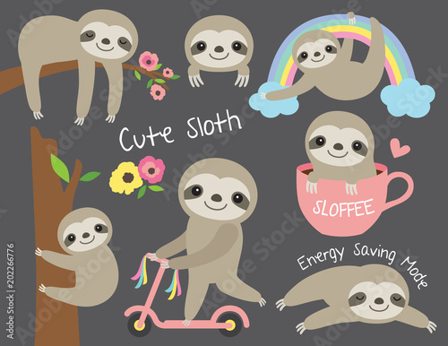 Canvas Print Vector illustration of cute baby sloth in various activities such as sleeping, riding bike, climbing and hanging from a tree