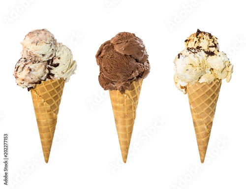 Set of three ice cream in waffle cone isolated on white