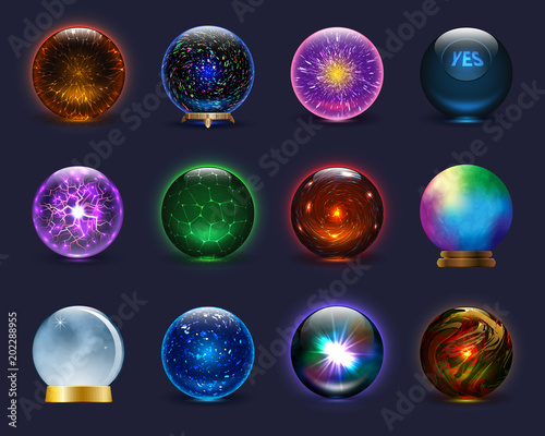 Canvas Print Magic ball vector magical crystal glass sphere and shiny lightning transparent o