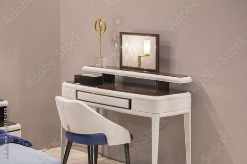 Valokuvatapetti White dressing table with wicker elements, leather upholstery, luxury mirror