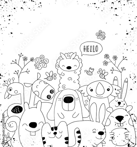 Wektorowa ilustracja Doodle śliczny zwierzęcy tło, kreskówki sk