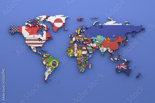 Światowa mapa z wszystkimi państwami i ich flaga, 3d odpłaca się