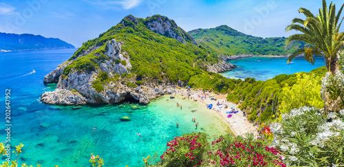 Fototapeta premium Widok z lotu ptaka Porto Timoni, region Afionas, Korfu