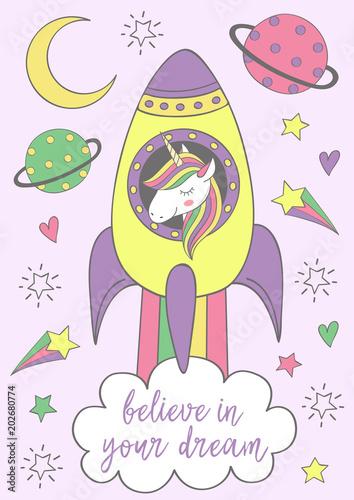 plakat z magiczną jednorożec w rakiecie - wektorowa ilustracja, eps