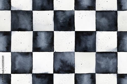Fotografie, Tablou Seamless watercolor chessboard pattern