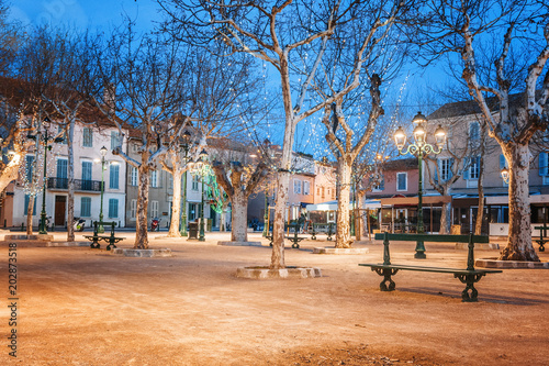 Fotografie, Obraz Central square in Saint-Tropez, France, city lights and night illumination