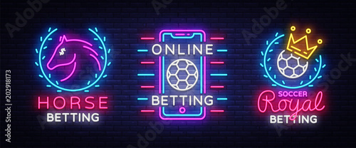 Fotografija Betting Collection Logos in Neon Style