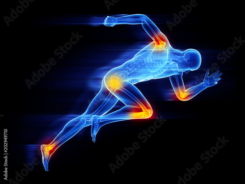 Photo 3d rendered, medically accurate illustration of a sprinter