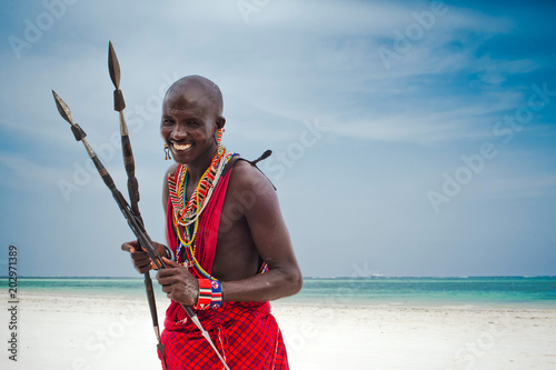 Stampa su Tela Portrait of aMasaiwarrior,DianiBeach,Ukunda,Kenya