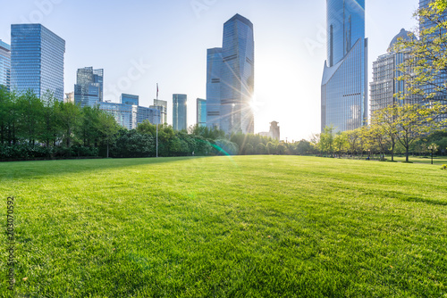 green lawn with modern office building