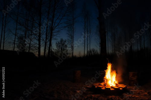 Burning campfire in chilly autumn evening. Fototapet
