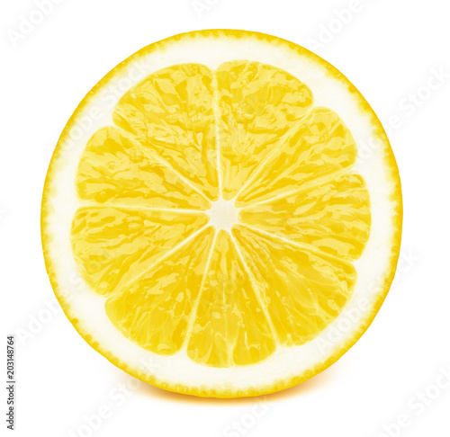 Fototapeta Perfectly retouched sliced half of lemon fruit isolated on the white background with clipping path