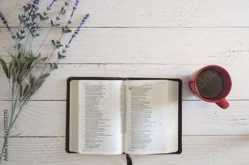 Bible Study on a White Wood Table