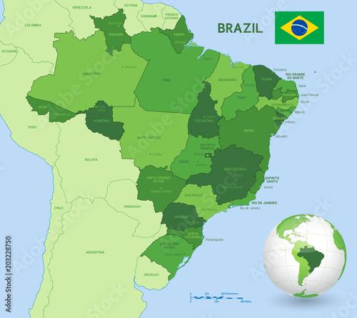 Canvas Print Green Brazil Vector Administrative Map