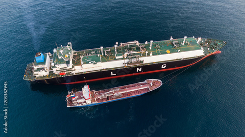 Mooring to the LNG-tanker of the ship for fuel bunkering.