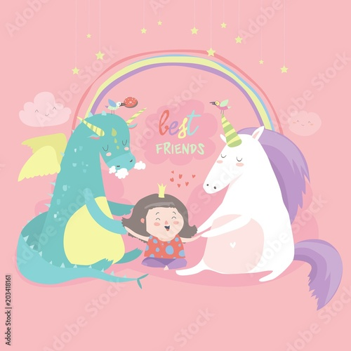 Cute cartoon dragon, unicorn and little girl