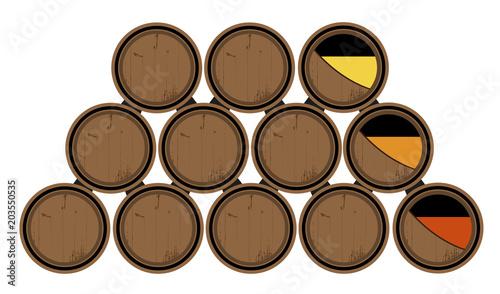 Obraz na plátně Barricas de vino roble. Sistema de soleras y criaderas