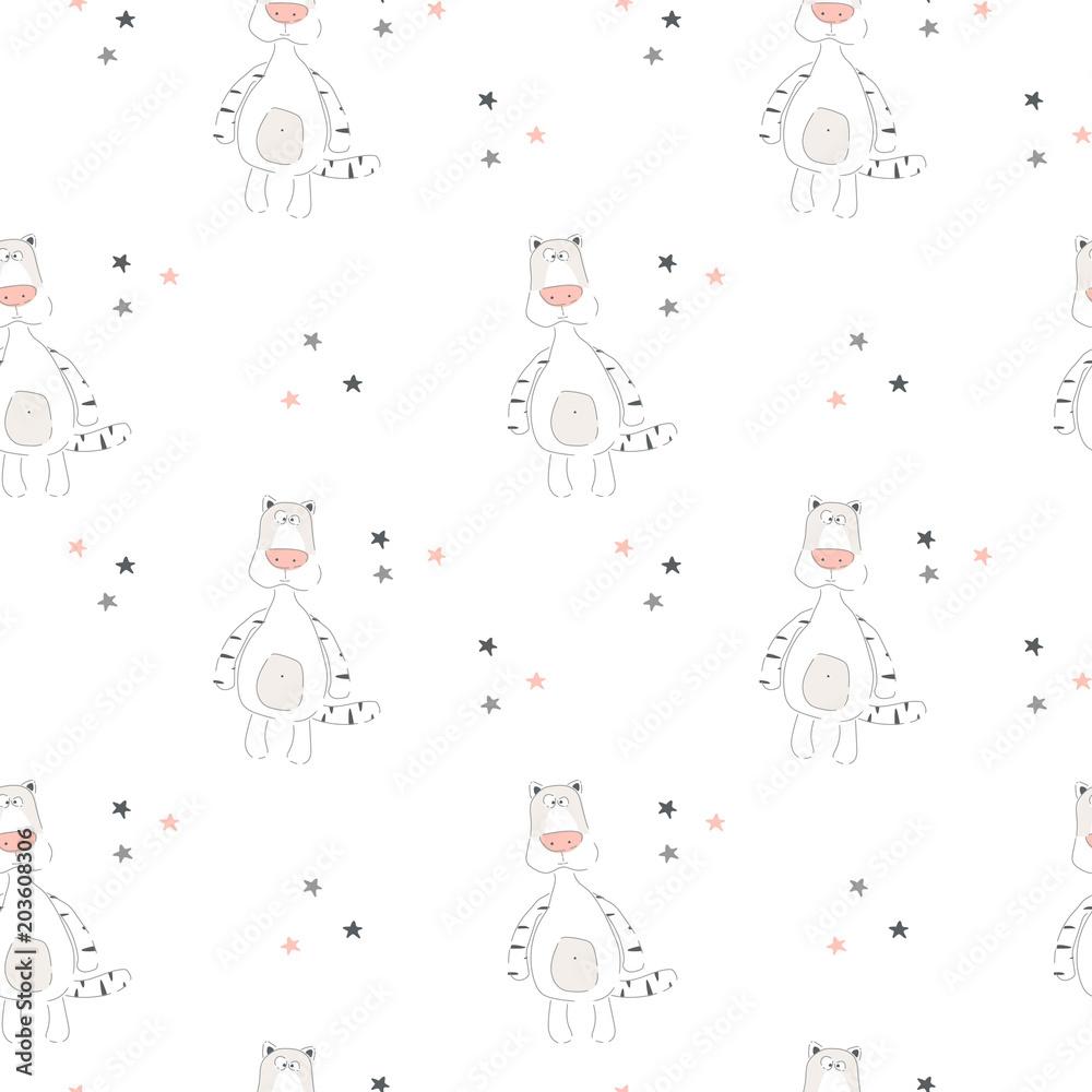 Wektorowy druk z kreskówka tygrysem dla dziecka. Bezszwowy wzór. Ilustracji wektorowych. <span>plik: #203608306 | autor: Natalia</span>