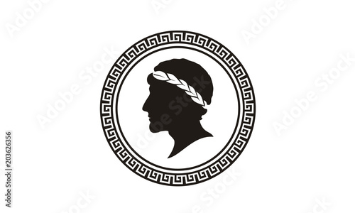 Fotografia Ancient Greek Figure Philosopher Laurel Wreath Coin Medal Medallion logo design