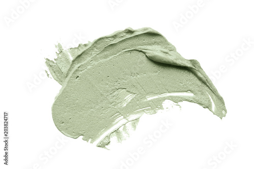 Fotografia Blue clay facial mask smear on white isolated background