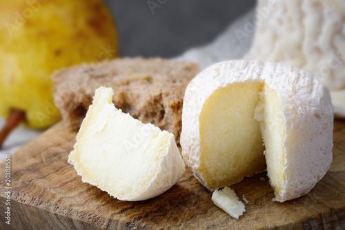 Crottin de Chavignol, French goat cheese, selective focus.