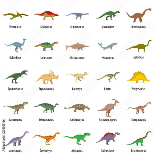 Obraz na płótnie Dinosaur types signed name icons set